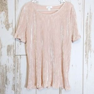 Jaclyn Smith pleated shimmer blouse large